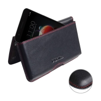 Leather Wallet Pouch for LG Aristo 2 (Red Stitch)