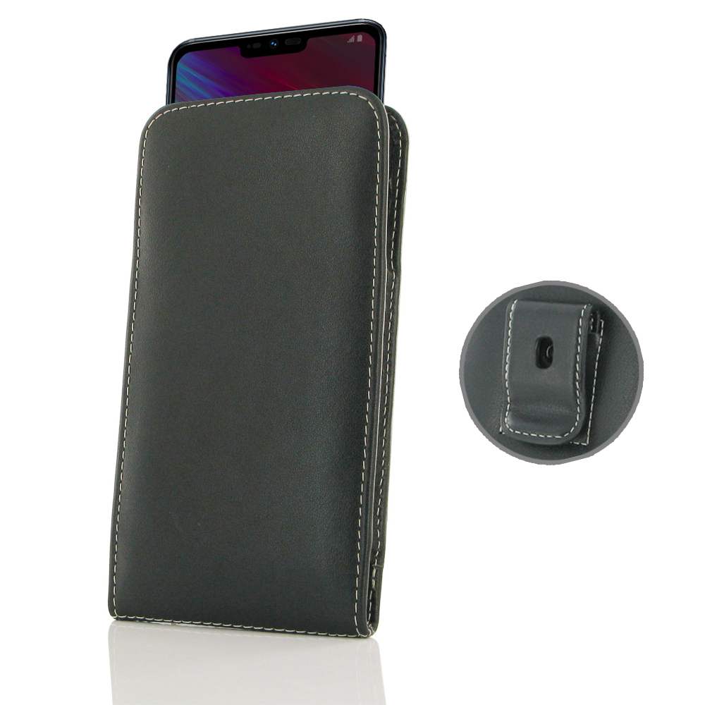 size 40 cd000 4d10f Leather Vertical Pouch Belt Clip Case for LG G7 Fit