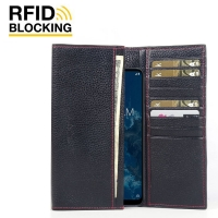 Continental Leather RFID Blocking Wallet Case for LG G7 One (Black Pebble Leather/Red Stitch)