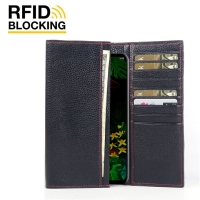Continental Leather RFID Blocking Wallet Case for LG G8 ThinQ (Black Pebble Leather/Red Stitch)