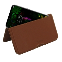Leather Wallet Pouch for LG G8 ThinQ (Brown)