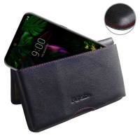 Leather Wallet Pouch for LG G8 ThinQ (Red Stitch)