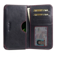 Leather Card Wallet for LG G8 ThinQ (Red Stitch)