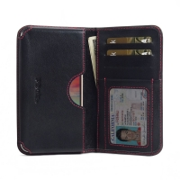 Leather Card Wallet for LG K10 (2017) (Red Stitch)