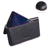 Leather Wallet Pouch for LG K8 (2017) (Red Stitch)