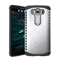 Hybrid Combo Aegis Armor Case Cover for LG V10 (Silver)