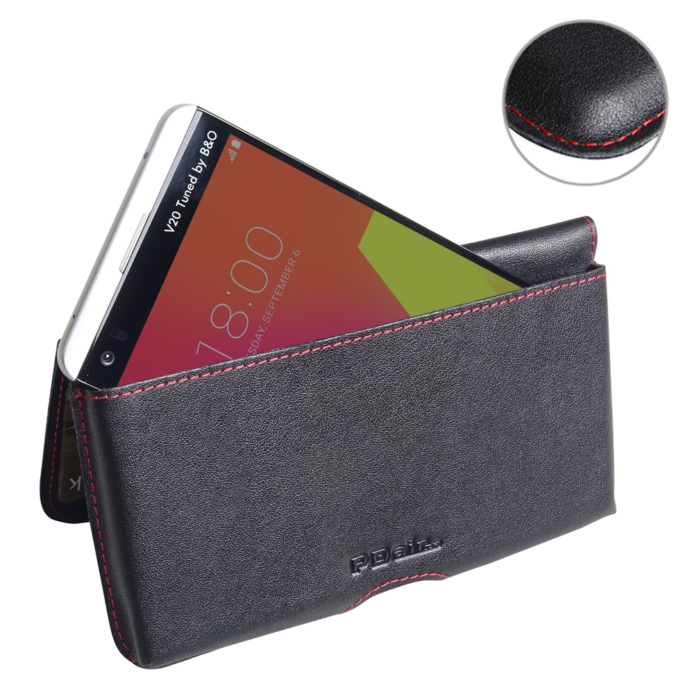 LG V20 Leather Wallet Pouch Case (Red Stitch) PDair Premium Hadmade Genuine Leather Protective Case Sleeve Wallet