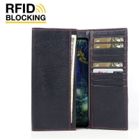 Continental Leather RFID Blocking Wallet Case for LG V50 ThinQ 5G (Black Pebble Leather/Red Stitch)