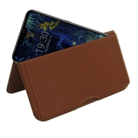 Leather Wallet Pouch for LG V50 ThinQ 5G (Brown)