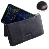 Leather Wallet Pouch for LG V50 ThinQ 5G (Red Stitch)