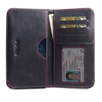 Leather Card Wallet for LG V50 ThinQ 5G (Red Stitch)