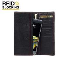 Continental Leather RFID Blocking Wallet Case for LG X cam (Black Pebble Leather/Red Stitch)