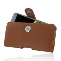LG X cam Leather Holster Case (Brown) PDair Premium Hadmade Genuine Leather Protective Case Sleeve Wallet