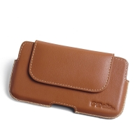 LG X cam Leather Holster Pouch Case (Brown) PDair Premium Hadmade Genuine Leather Protective Case Sleeve Wallet