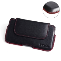 LG X cam Leather Holster Pouch Case (Red Stitch) PDair Premium Hadmade Genuine Leather Protective Case Sleeve Wallet