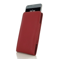 LG X cam Leather Sleeve Pouch Case (Red) PDair Premium Hadmade Genuine Leather Protective Case Sleeve Wallet