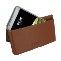 LG X cam Leather Wallet Pouch Case (Brown) PDair Premium Hadmade Genuine Leather Protective Case Sleeve Wallet