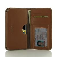 LG X cam Leather Wallet Sleeve Case (Brown) PDair Premium Hadmade Genuine Leather Protective Case Sleeve Wallet