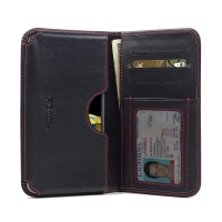 LG X cam Leather Wallet Sleeve Case (Red Stitch) PDair Premium Hadmade Genuine Leather Protective Case Sleeve Wallet