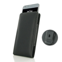 LG X cam Pouch Case with Belt Clip PDair Premium Hadmade Genuine Leather Protective Case Sleeve Wallet