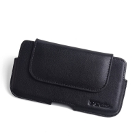 Luxury Leather Holster Pouch Case for LG X4 Plus | X4+ (Black Stitch)