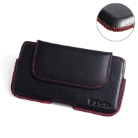 Luxury Leather Holster Pouch Case for LG X4 Plus | X4+ (Red Stitch)