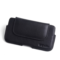 Luxury Leather Holster Pouch Case for Microsoft Lumia 950 (Black Stitch)