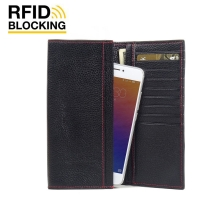 Continental Leather RFID Blocking Wallet Case for Meizu Pro 6 (Black Pebble Leather/Red Stitch)