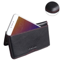 Leather Wallet Pouch for Meizu Pro 6 (Red Stitch)