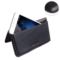 Leather Wallet Pouch for MEIZU U10 (Red Stitch)