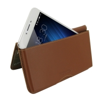 Leather Wallet Pouch for MEIZU U20 (Brown)