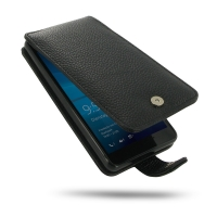 Leather Flip Case for Microsoft Lumia 950 (Black Pebble Leather/Black Stitch)