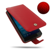 Leather Flip Wallet Case for Microsoft Lumia 950 (Red Pebble Leather)