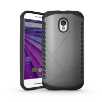 Hybrid Combo Aegis Armor Case Cover for Motorola Moto G (Gen 3) (Grey)