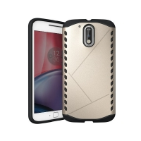 Hybrid Combo Aegis Armor Case Cover for Motorola Moto G4 Plus (Gold)