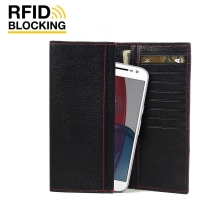 Continental Leather RFID Blocking Wallet Case for Motorola Moto G4 Plus (Black Pebble Leather/Red Stitch)