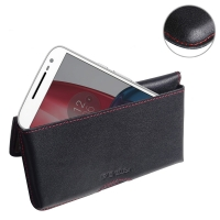 Leather Wallet Pouch for Motorola Moto G4 Plus (Red Stitch)