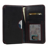 Leather Card Wallet for Motorola Moto G4 Plus (Red Stitch)