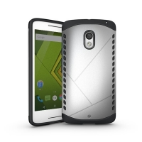 Hybrid Combo Aegis Armor Case Cover for Motorola Moto X Play (Silver)