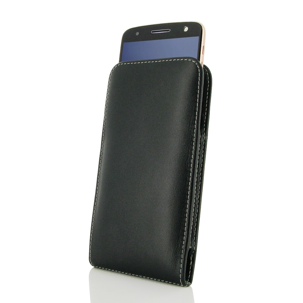 buy online 4b9c5 c458f Moto Z Force Leather Sleeve Pouch Case :: PDair Sleeve Holster Flip