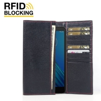 Continental Leather RFID Blocking Wallet Case for Motorola Moto E6 (Black Pebble Leather/Red Stitch)