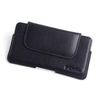 Luxury Leather Holster Pouch Case for Motorola Moto E6 Plus | Moto E6s (Black Stitch)