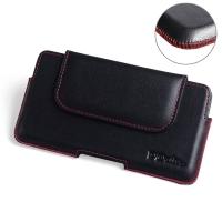 Luxury Leather Holster Pouch Case for Motorola Moto E6 Plus | Moto E6s (Red Stitch)