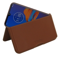Leather Wallet Pouch for Motorola Moto E6 Plus   Moto E6s (Brown)