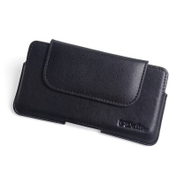 Luxury Leather Holster Pouch Case for Motorola Moto G5 Plus (Black Stitch)
