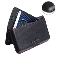 Leather Wallet Pouch for Motorola Moto G5 Plus (Red Stitch)