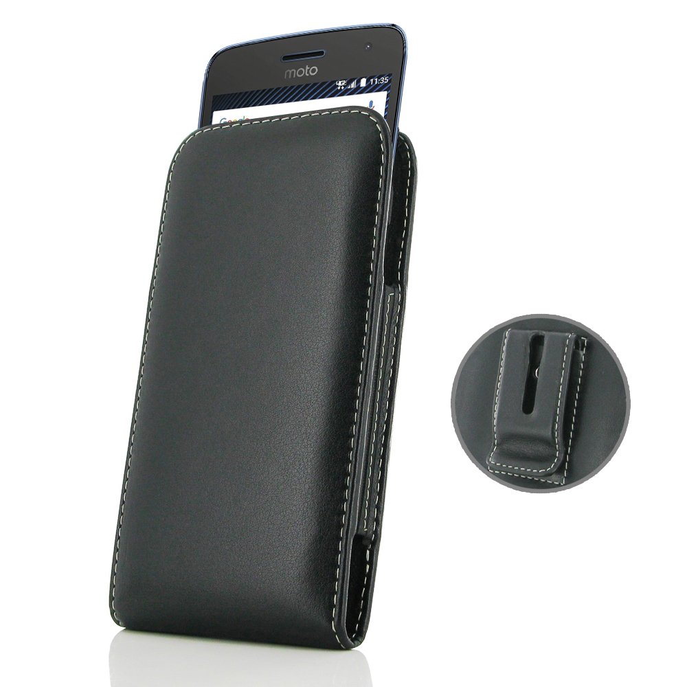 designer fashion 4de52 65125 Leather Vertical Pouch Belt Clip Case for Motorola Moto G5 Plus