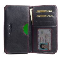 Leather Card Wallet for Motorola Moto G7 (Red Stitch)