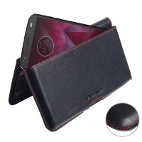Leather Wallet Pouch for Motorola Moto Z2 Force (Red Stitch)