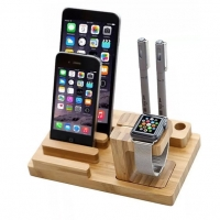 Multifunction Bamboo Stand Holder for Apple Watch, Smart Watch, iPhone, Smartphone and Tablet